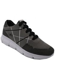 L4k3 Men's B70hitgrey Grey Fabric Sneakers