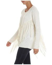P.A.R.O.S.H. - White Pullover With Fringes - Lyst