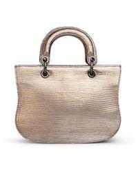 Thale Blanc Mademoiselle Satchel: Designer Crossbody Bag In Silver Lizard - Metallic