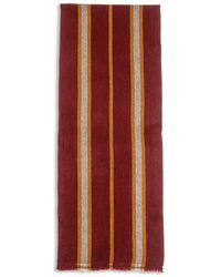 Burrows and Hare Burrows & Hare Cashmere & Merino Wool Scarf - Stripe Port - Red