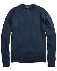 RRL by RALPH LAUREN Jacquard-knit Crew Neck L/s T-shirt Rinsed Indigo - Blue