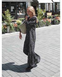 Nrby Gina Silk Spot Ruffle Hem Dress - Black