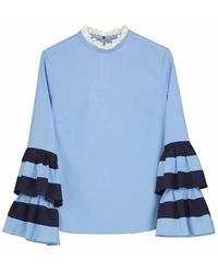 Donna Ida Wrist Candy Blouse - Bi Coastal S - Blue