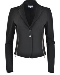 Patrizia Pepe - 2s1331 Cropped Fitted Jacket With Zips Black - Lyst