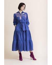 Tallulah & Hope Zip Front Tiered Dress Embroidered Jay - Blue
