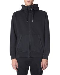 C P Company Hooded Cotton Sweatshirt With Zip - Black