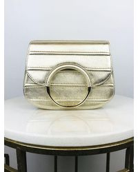 Unisa Zaon Metallic Leather Hoop Clutch Platinum