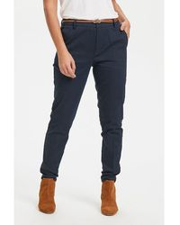B.Young Cigarette Trousers Navy - Blue