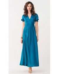 Diane von Furstenberg Avianna Soft Satin Gown - Blue