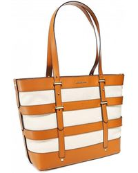 df091e212dd9 MICHAEL Michael Kors - Marie Caged Leather And Canvas Tote Bag - Lyst