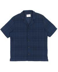 Folk Folk Short Sleeve Soft Collar Shirt - Navy Overdyed Crepe Check - Blue