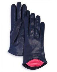 Maison Fabre Lambskin Leather Kiss Gloves - Blue