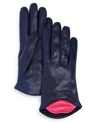 Maison Fabre Lambskin Leather Kiss Gloves - Blue