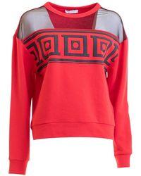 Versace Tulle Paneled Baroque Print Sweatshirt - Red