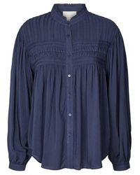 Lolly's Laundry Cara Blue Pleated Blouse