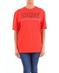 McQ Alexander Mcqueen T-shirt With Print And Short Sleeves - Red