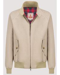 Baracuta G9 Suede Mod Harrington Jacket - Stone - Natural