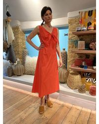 iBlues Curly Knot Front Dress In Hot Orange - Red