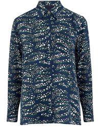 Mercy Delta Goodwood Silk Shirt - Tiger Shark Sea - Blue