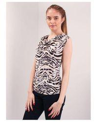 NÜ Tiger Print Cowl Top Colour: Pink/black
