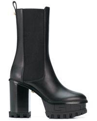 Versace Greca Embossed Platform Boots - Black