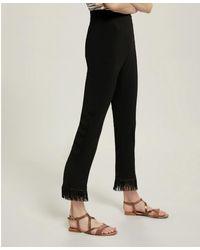 Pennyblack Lazio Long Fringed Pants In - Black
