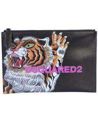 DSquared² Tiger Print Pouch - Black