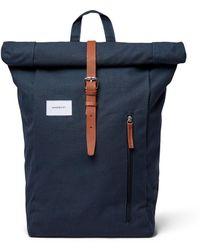 Sandqvist Dante Bag - Navy With Cognac Brown Leather - Blue