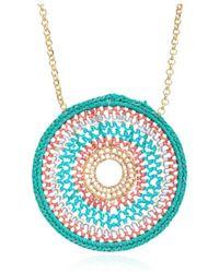 Azuni London Crochet Mandalla Necklace - Pink
