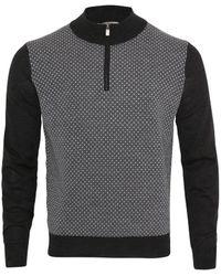 Canali Quarter Zip Diamond Pattern Knit ( / Grey) - Black