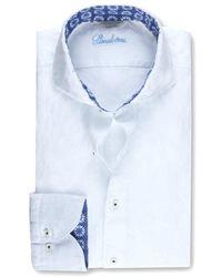 Stenströms Linen Slimline Shirt With Contrast Trim 7752211304000 - White
