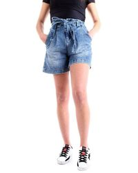 Patrizia Pepe 8j0978/a1wzb Shorts In Denim Con Cintura - Blue