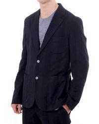 J.Lindeberg Blazer With Stitch Stripe Detail - Blue