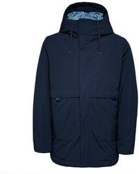 SELECTED Hooded Parka - Sky Captain Navy - Blue