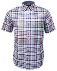 Pendleton Seaside Button Down Ss Shirt Blue Red Plaid