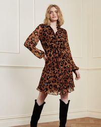 FABIENNE CHAPOT Frida Cato Leopard Short Dress - Brown