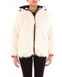 Moncler Short Down Jacket With Cream-colored Fur - White