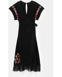 Desigual Monterrey Long Dress With Fringe - Black