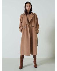 Marella Giorgio Camel Pure Wool Double-breasted Coat - Multicolour