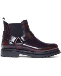 Hudson Jeans Hudson Moss Chelsea Boot In Patent Bordo - Blue