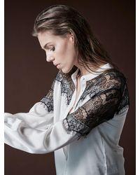 NÜ Brae-lace Shirt-creme Mix - White
