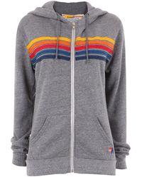 Aviator Nation Rainbow Stripe Hoodie - Grey
