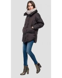 Replay - Down Jacket With Detachable Hood - Lyst
