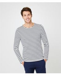 Petit Bateau Men's Stripey Long Sleeved Top Navy - Blue
