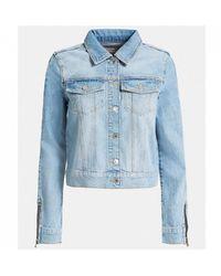 Guess Zipper Slim Fit Denim Jacket - Blue