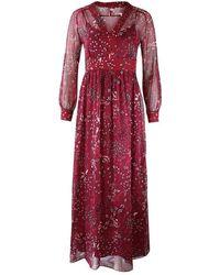 Max Mara Studio Maxmara Studio Longsleeve Floral Silk Dress - Red