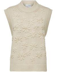 SELECTED Fia Knit Vest Sandshell - Natural