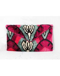 Yunion T Olivia Dark & Mid Pink, Grey Cotton Velvet Clutch Bag