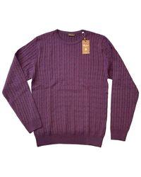 Stenströms Merino Cable Knit Crew Neck Sweater 4222851355650 - Purple
