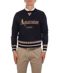 Aquascutum Men's Qmcswe1l0qm00711 Blue Wool Sweater